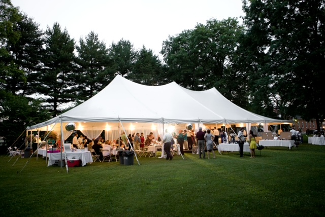 white outdoor pole tent for an event