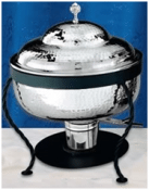 8-quart Stainless or Copper Hammered Rd Chafer withIron Stand