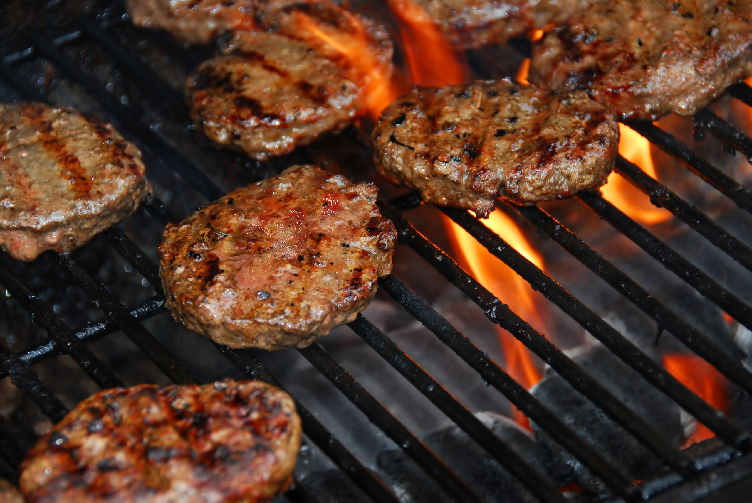 Hamburgers on grill for outdoor cookout