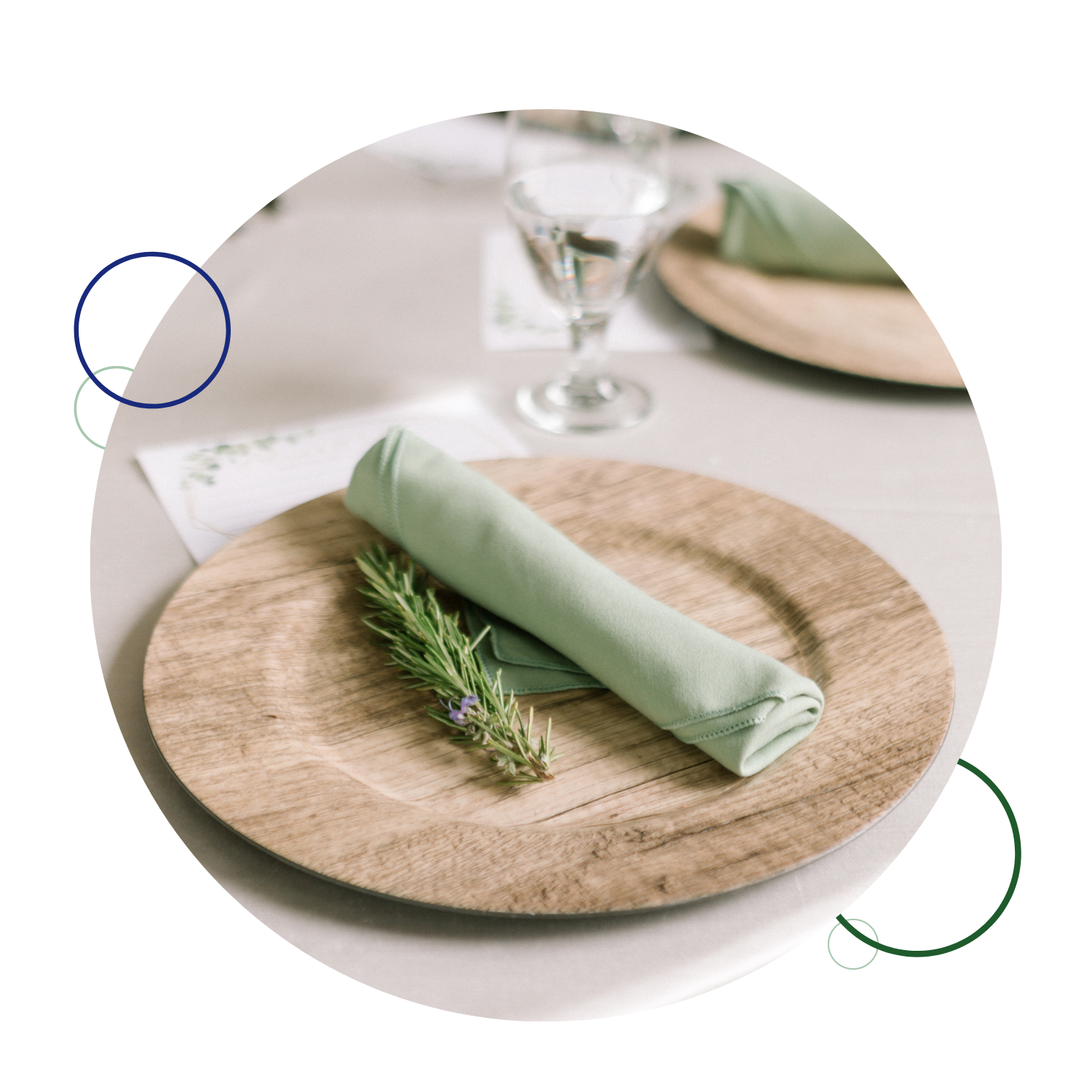 green tablecloth on wood charger