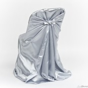 Silver Satin Chair Cover